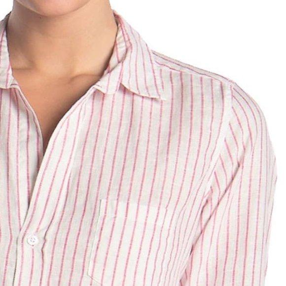 NWT FRANK & EILEEN Striped Button Down Shirt L Top